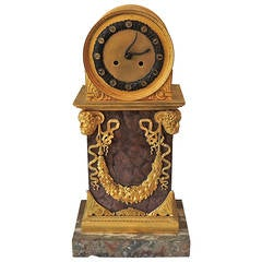Early 19th Century French Empire, Rouge Marble Dore Bronze Mounted Figural Clock