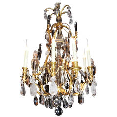 Louis Philippe French Doré Bronze and Rock Crystal Twelve-Light Chandelier