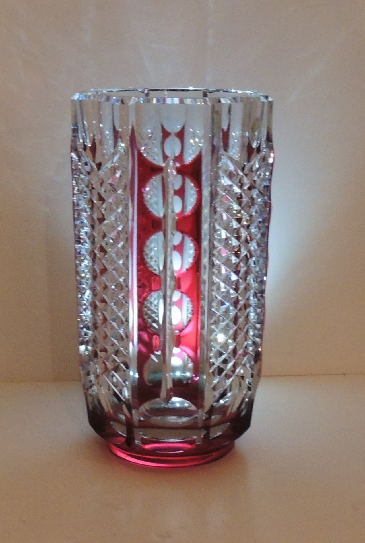 Beautiful and rare val st lambert red cut to clear crystal vase belgian beautiful rare val st lambert red cut to clear crystal vase very fine reviewsmspy