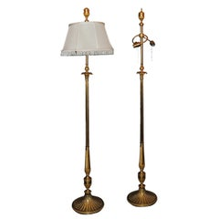 Very Fine and Elegant Pair of Caldwell Doré Bronze Three-Light Floor Lamps