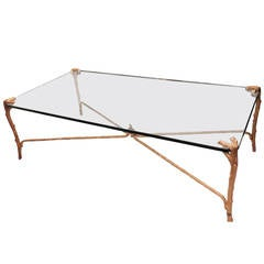 Wonderful Over Sized P E Guerin 5' Beveled Glass & Gilt Bronze Coffee Table