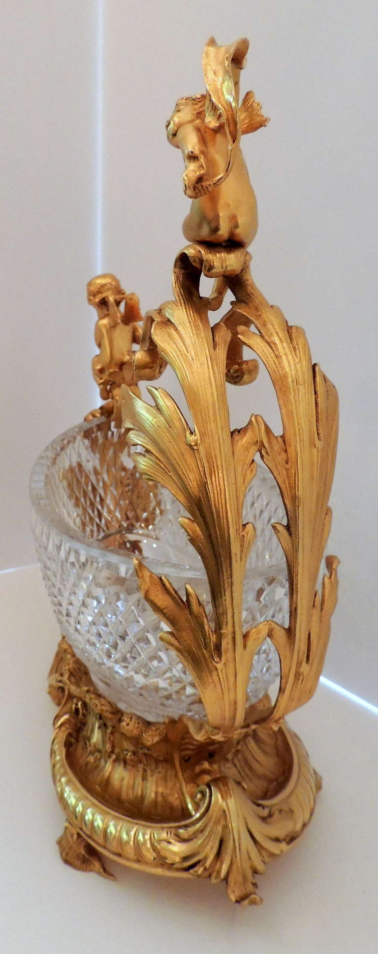 Exceptional French Figural Dore Bronze and Cut Crystal Centerpiece For Sale 1