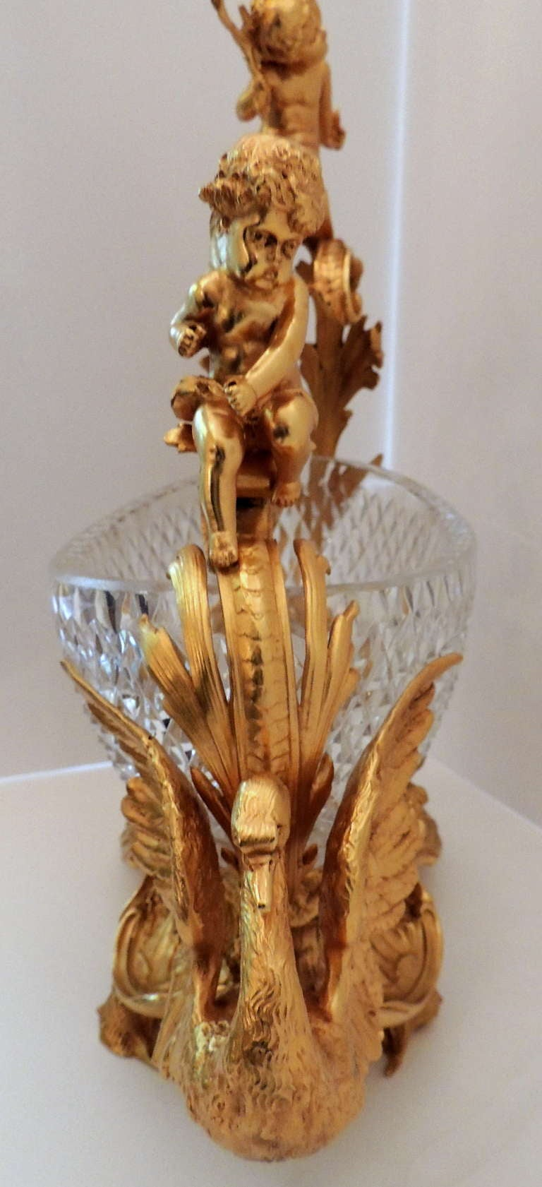 Exceptional French Figural Dore Bronze and Cut Crystal Centerpiece For Sale 2