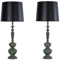 pair of bronze verdigris table lamps