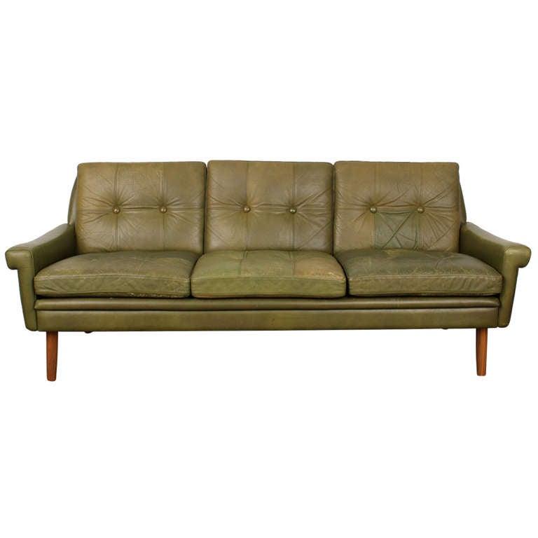 danish modern leather sofa at 1stdibs