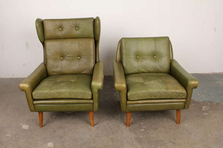 His And Her Danish Mid Century Modern Lounge Chairs With