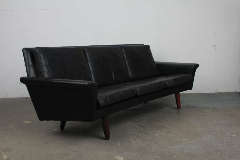 danish mid century mordern curved black leather sofa 2 black leather mid century