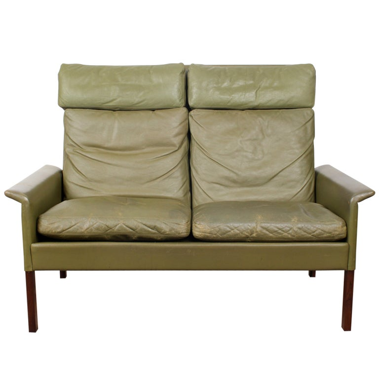 danish mid century modern leather sofa by hans olsen at 1stdibs