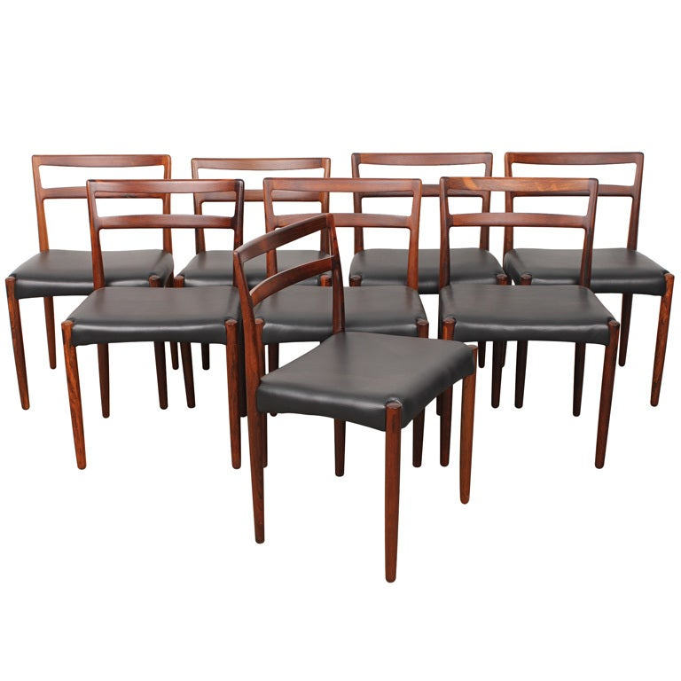 set of 8 danish mid century modern rosewood dining chairs