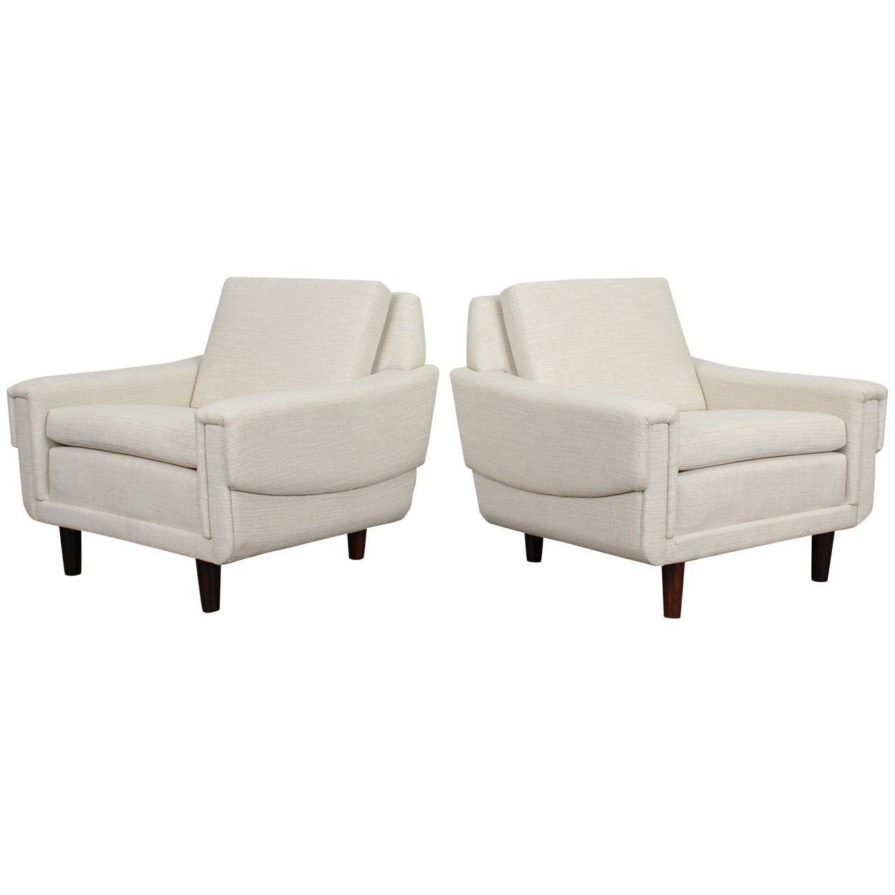 Pair of f White Danish Modern Low Lounge Chairs at 1stdibs