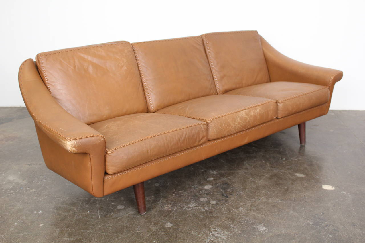 Danish Mid Century Three Seat Leather Sofa Designed By Aage Christensen At 1stdibs