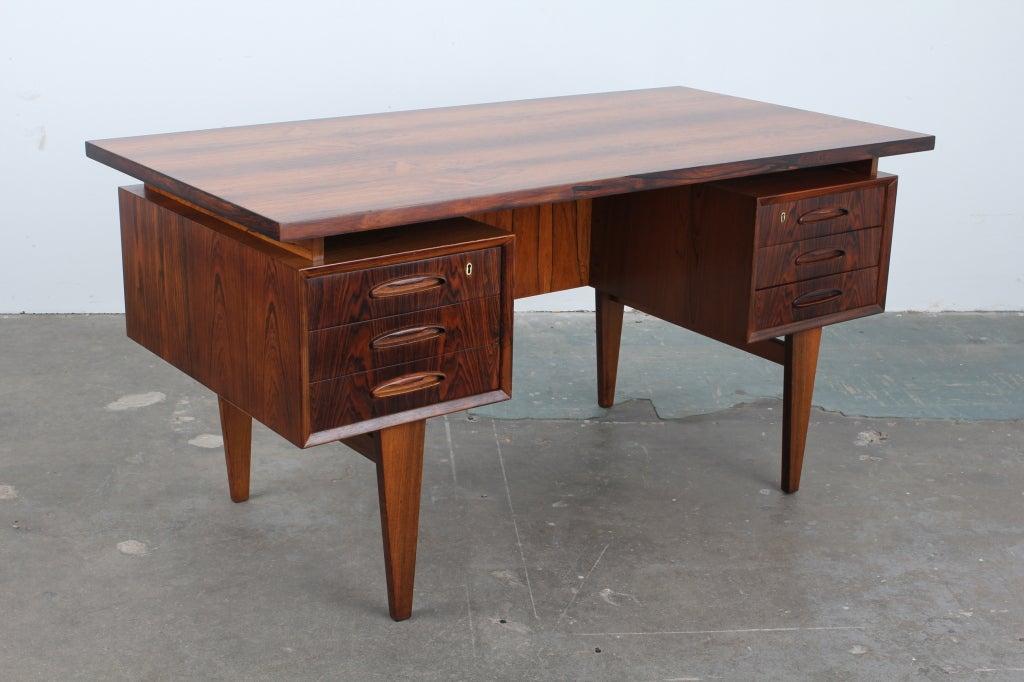 Rosewood Mid Century Modern Danish Executive Desk At 1stdibs