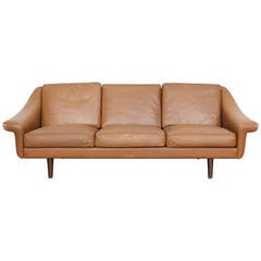 Danish Mid-Century Three-Seat Leather Sofa designed by Aage Christensen