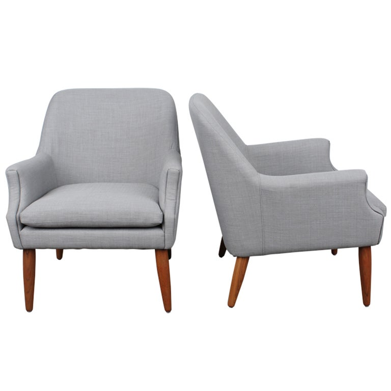 Pair Of Danish Mid Century Modern Lounge Chairs At 1stdibs