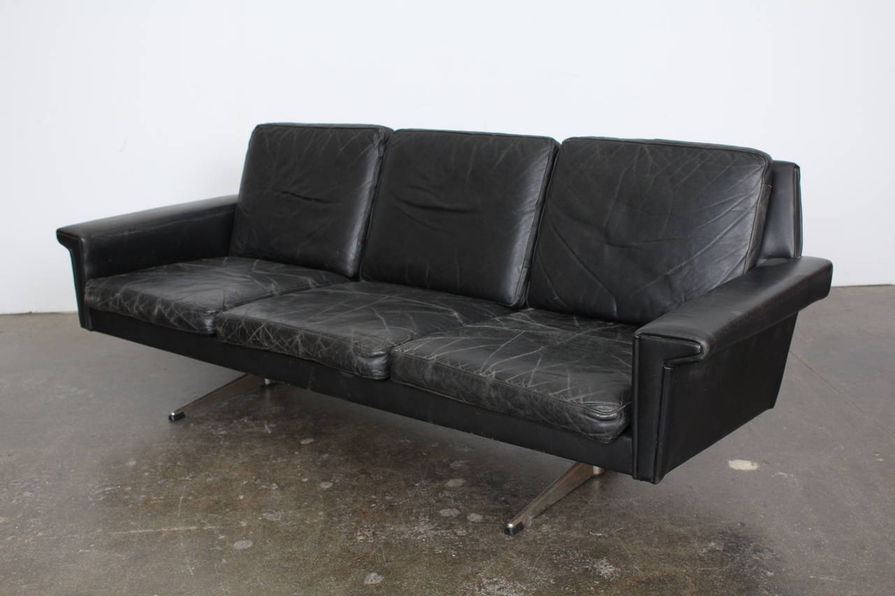 Fantastic Black Leather Sofa Made In Denmark. Incredible Patina To The  Original Vintage Black Leather
