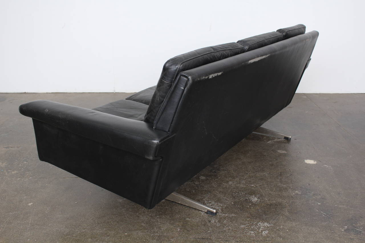 midcentury danish black leather sofa 8 black leather mid century