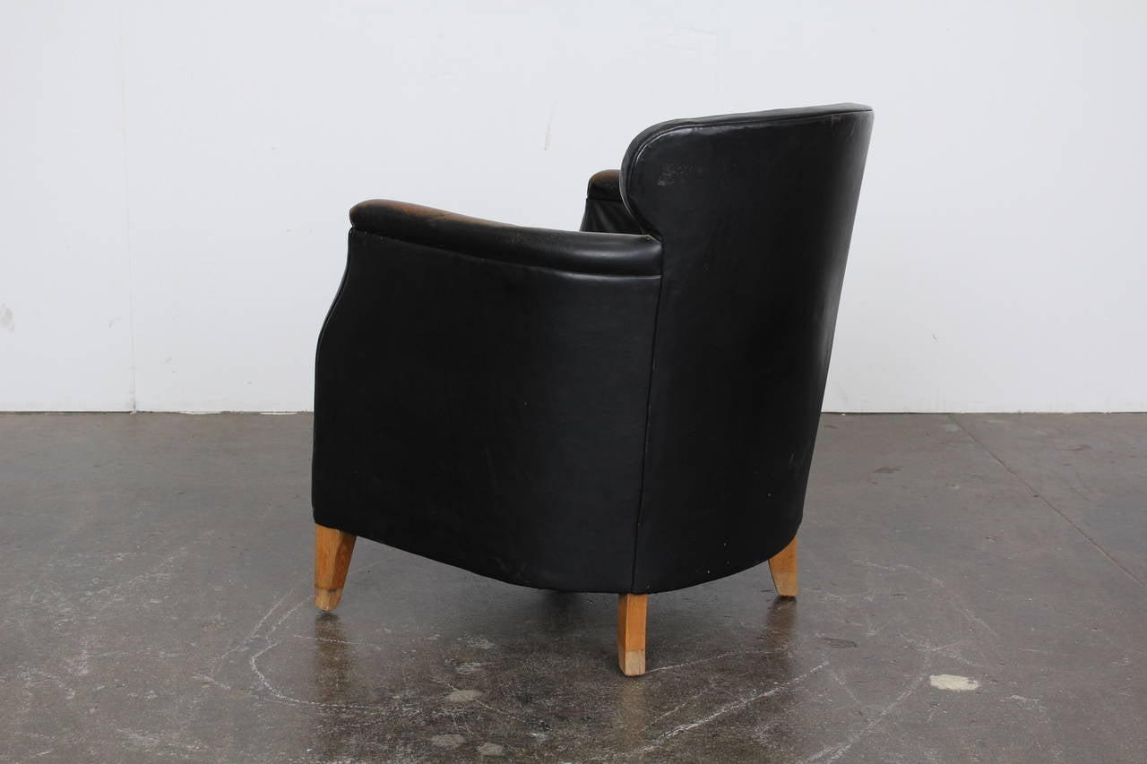 Mid Century Modern Danish Black Leather Lounge Chair at 1stdibs