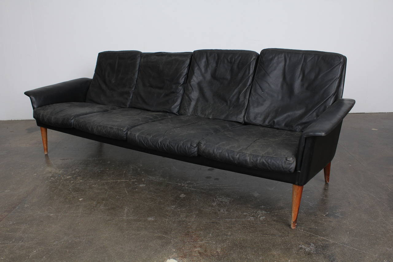 Mid Century Danish Four Seat Black Leather Sofa By H W Klein For Vintage 4 Sifa Model 265 Designed Bramin Circa