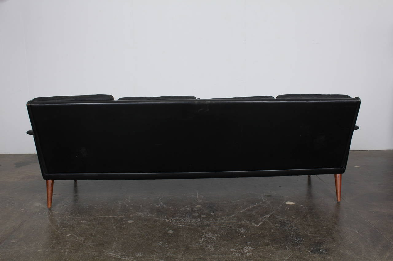 mid century danish four seat black leather sofa by h w. Black Bedroom Furniture Sets. Home Design Ideas