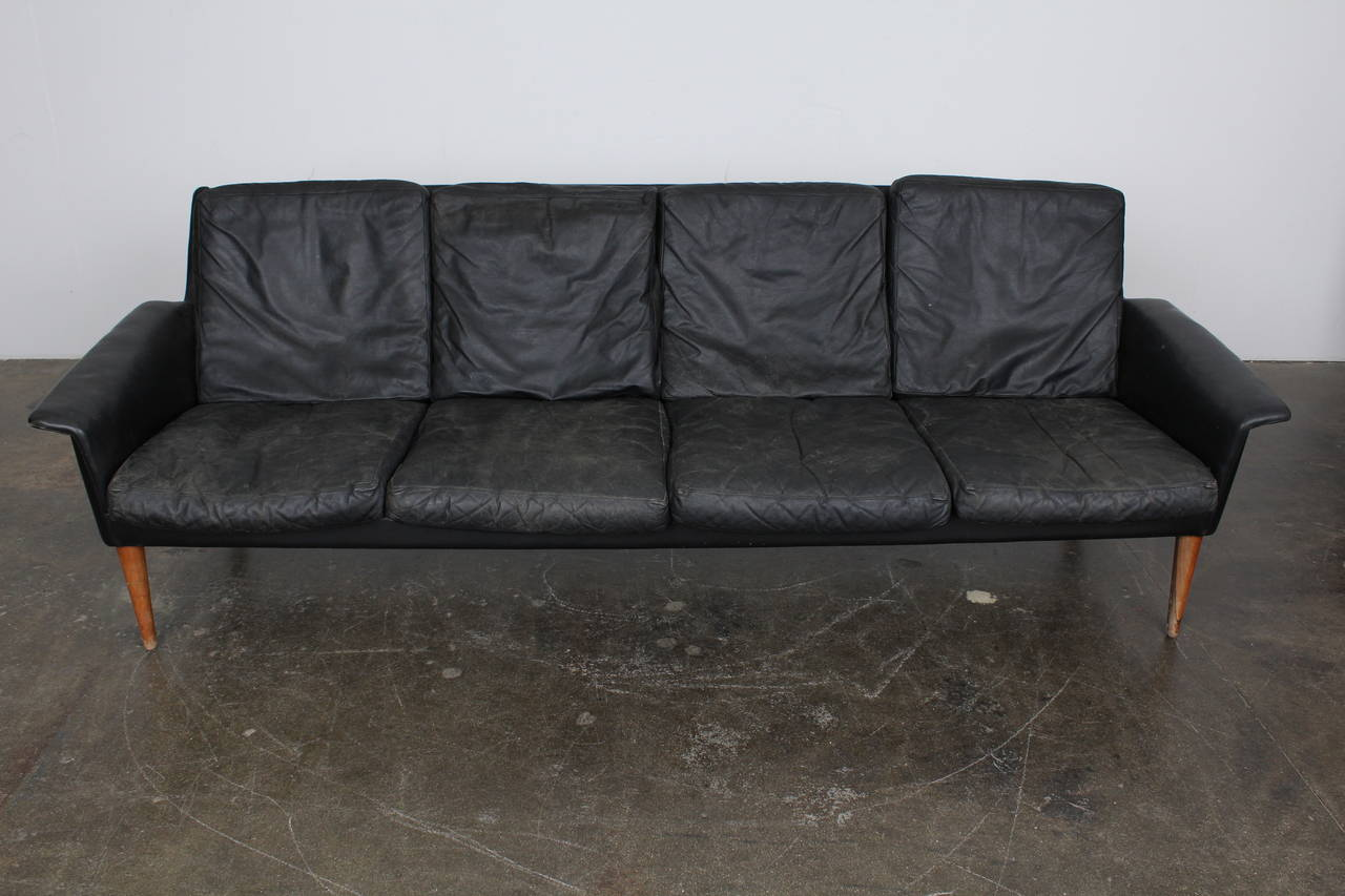mid century danish four seat black leather sofa by h w klein at 1stdibs. Black Bedroom Furniture Sets. Home Design Ideas