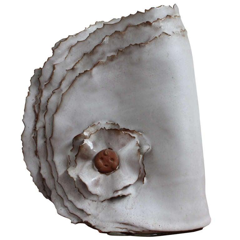 """Delicate Ceramic """"Ribbon"""" Vase For Sale"""