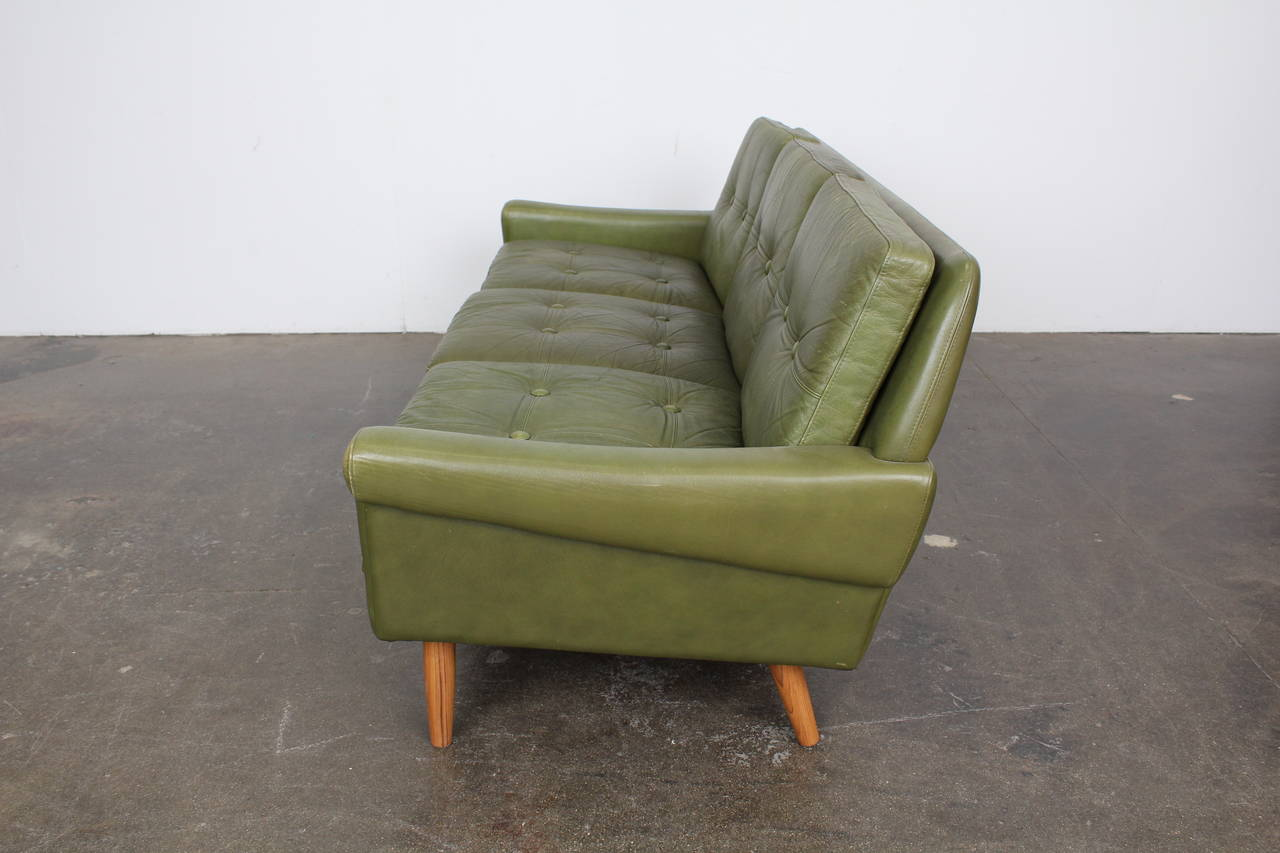 this mid century modern green leather sofa by skippers mobler is no