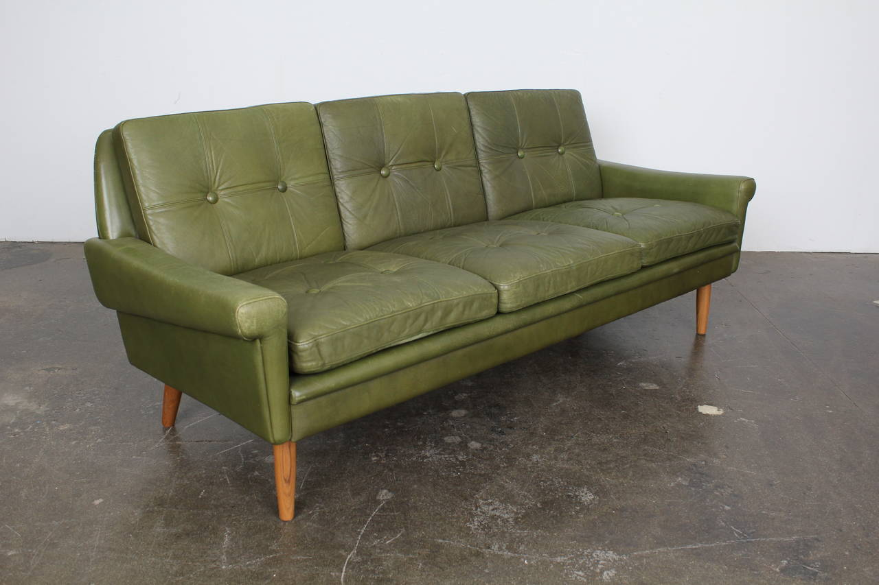 Vintage Three Seat Sofa By Skippers Mobler In Original Green Leather Upholstery Subtly Flared