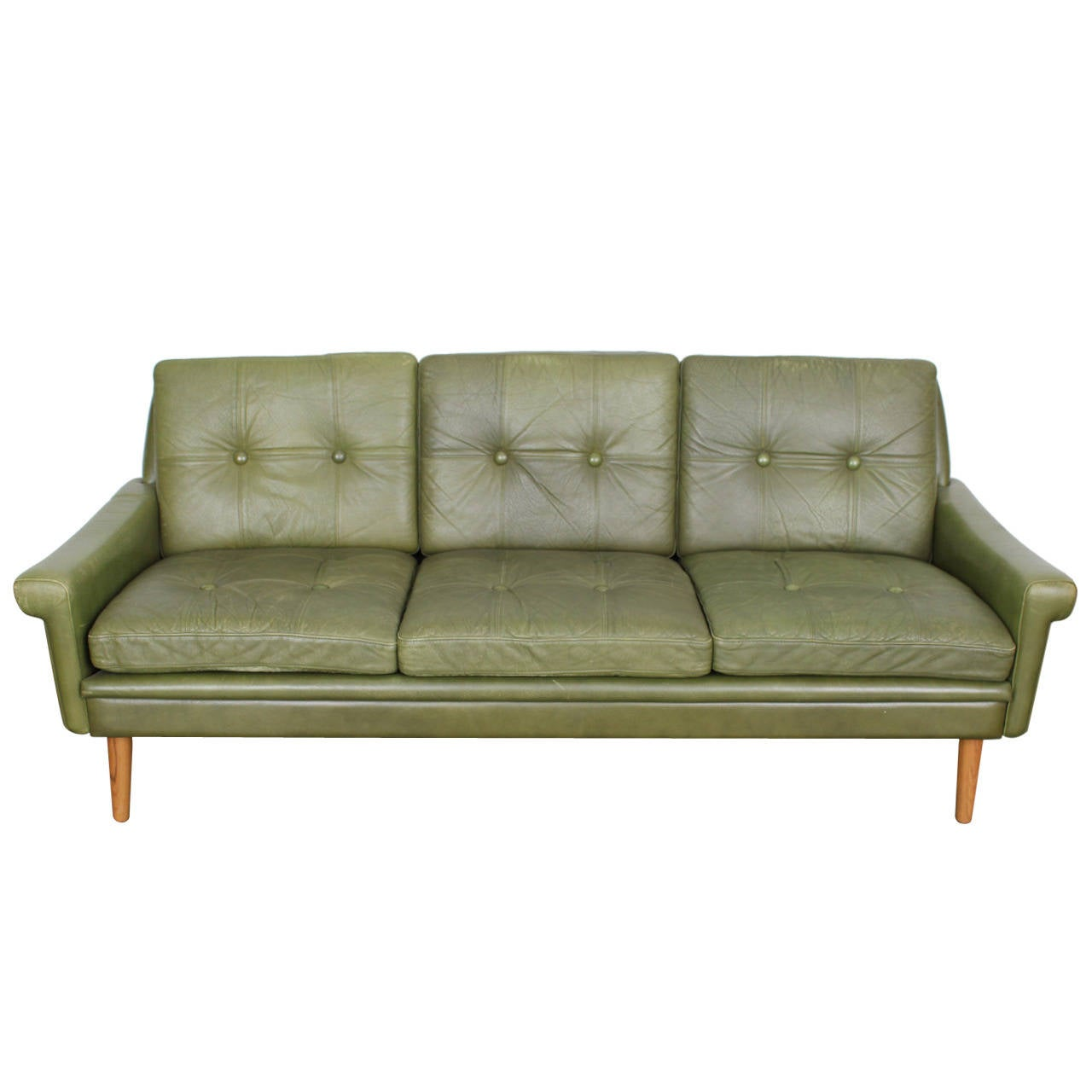 Mid century modern green leather sofa by skippers mobler for Modern loveseat
