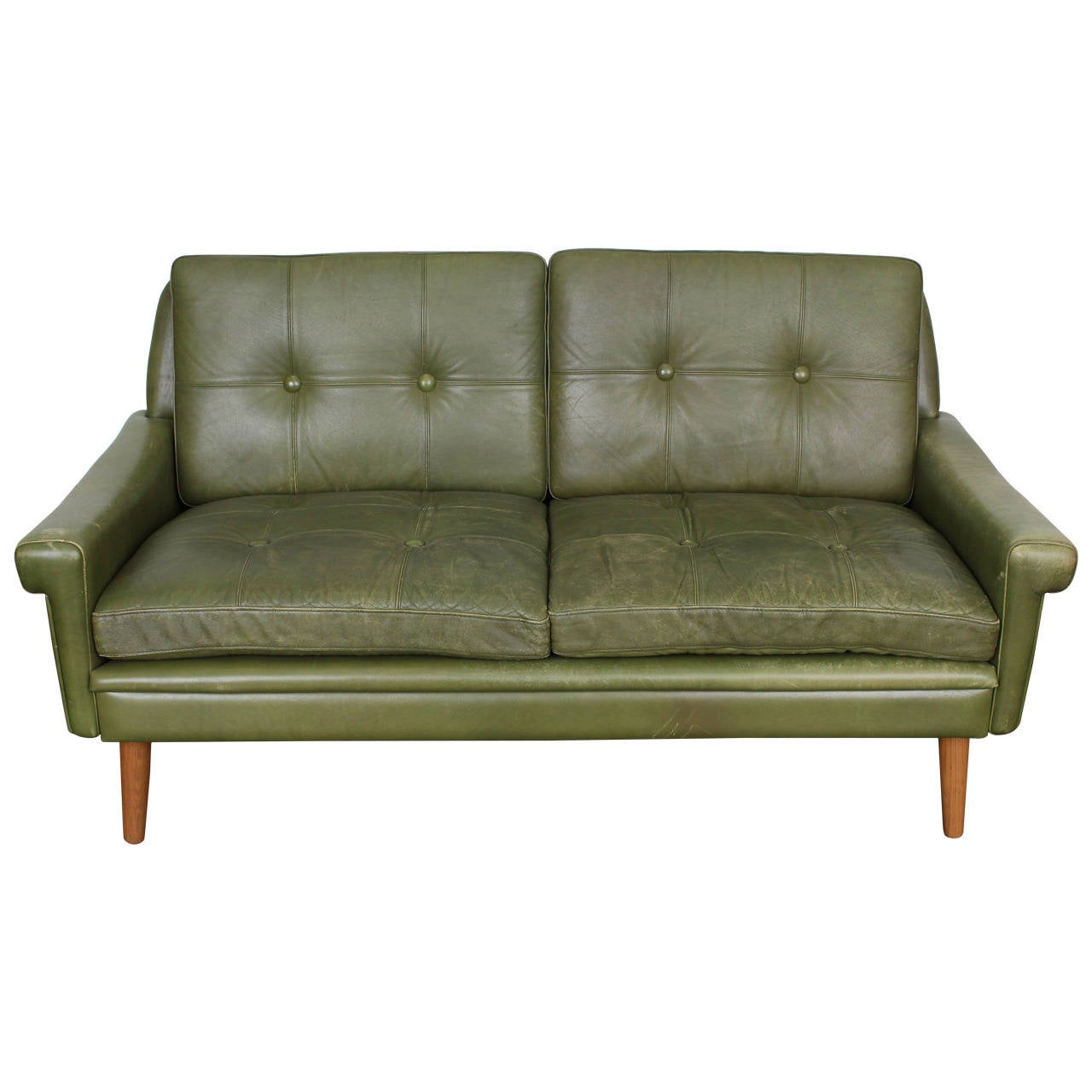 Mid Century Modern Green Leather Loveseat By Skippers