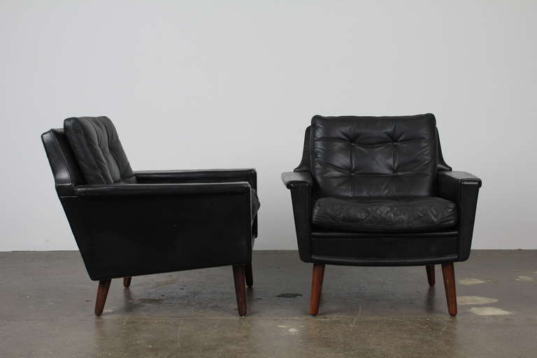 pair of black leather mid century modern danish lounge chairs 3 black leather mid century