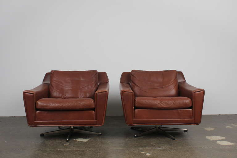 Pair Of Danish Mid Century Modern Leather Low Swivel Chairs At 1stdibs