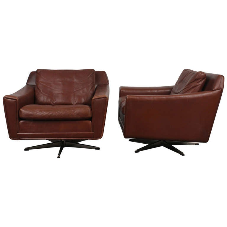Pair of danish mid century modern leather low swivel for Mid century modern leather chairs