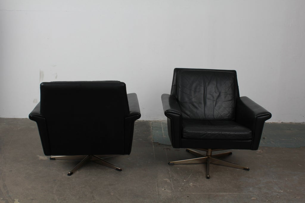 pair of danish mid century modern black leather swivel chairs image 7