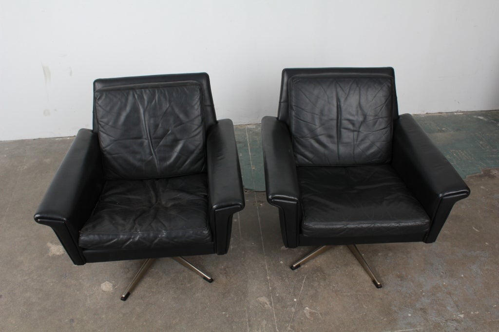 pair of danish mid century modern black leather swivel chairs image 8