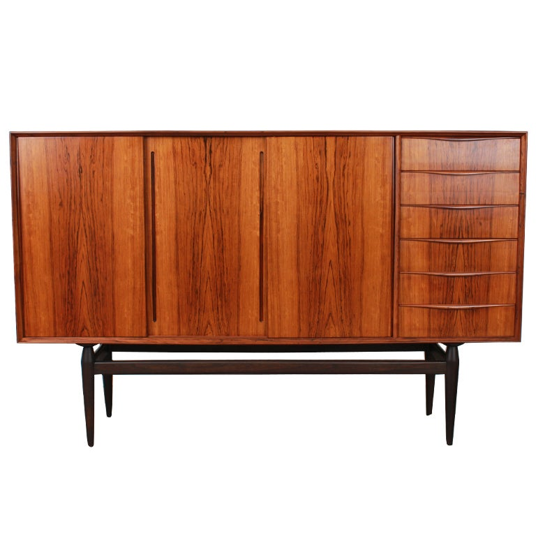 Rare Danish Rosewood Mid Century Modern Credenza At 1stdibs