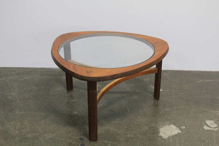 English Mid Century Modern Rounded Glass Top And Teak Coffee Table. 2