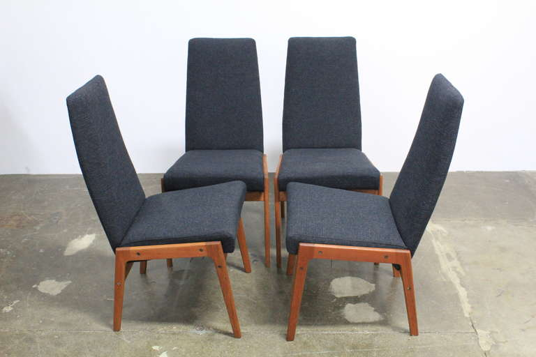 Set Of 4 Tall Back Fabric And Teak Mid Century Modern Dining Chairs At 1stdibs