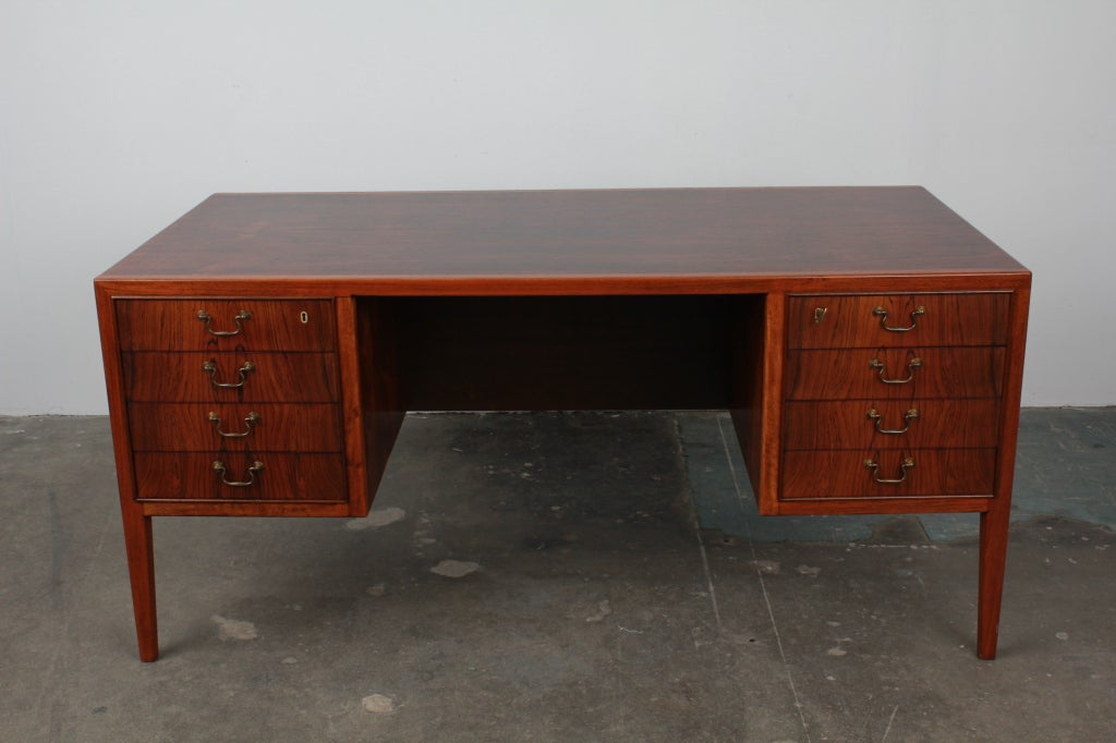 Mid Century Modern Rosewood Executive Desk From Denmark Has 8 Drawers With Br