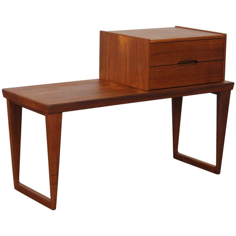 Danish teak sleigh leg bench table and drawer by Aksel