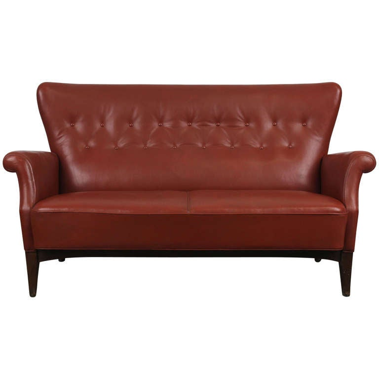 Tufted Back Leather Sofa Brown Leather Sofa With Tufted Back Newly Upholstered At 1stdibs