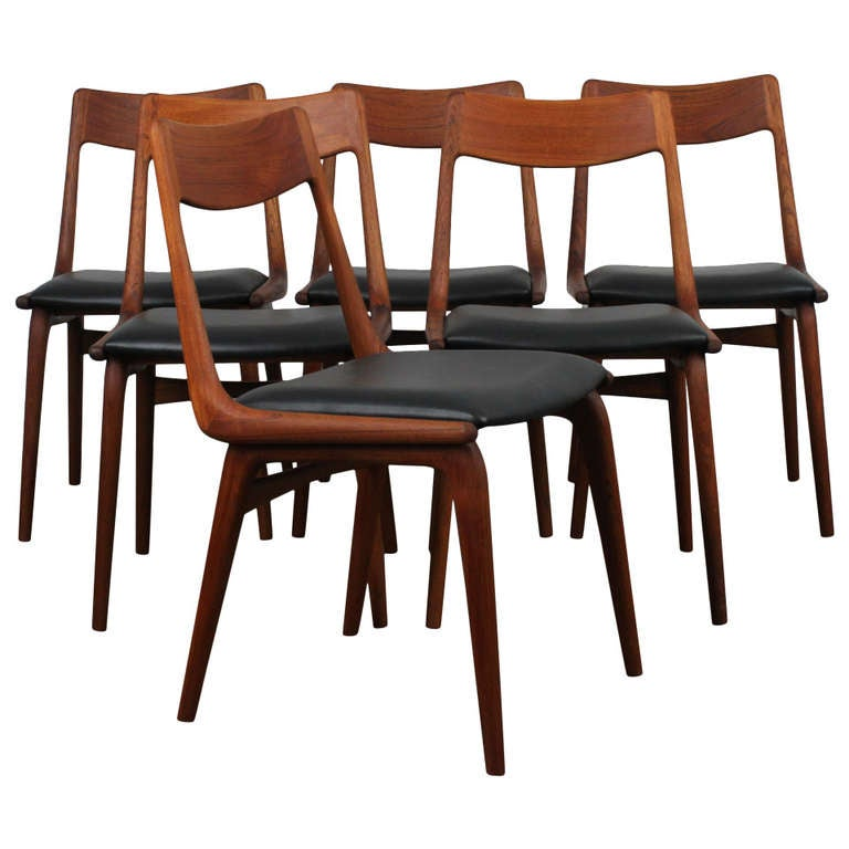 Six Teak Boomerang Dining Chairs By Erik Christensen, Denmark 1