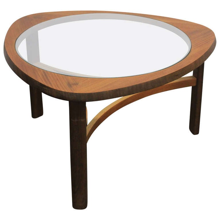 Good English Mid Century Modern Rounded Glass Top And Teak Coffee Table. 1
