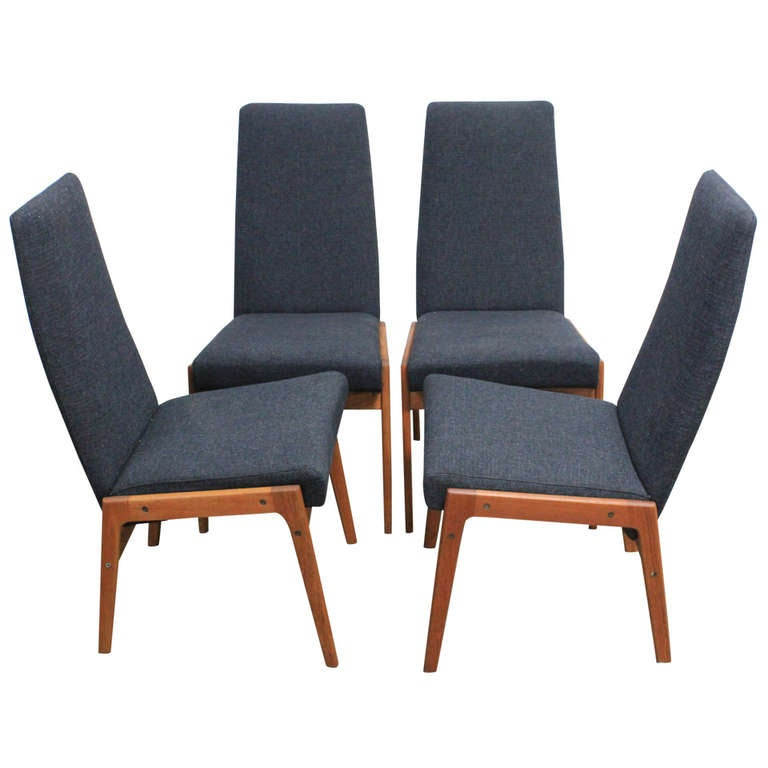 Set of 4 tall back fabric and teak mid century modern  : 1202446l from www.1stdibs.com size 768 x 768 jpeg 39kB