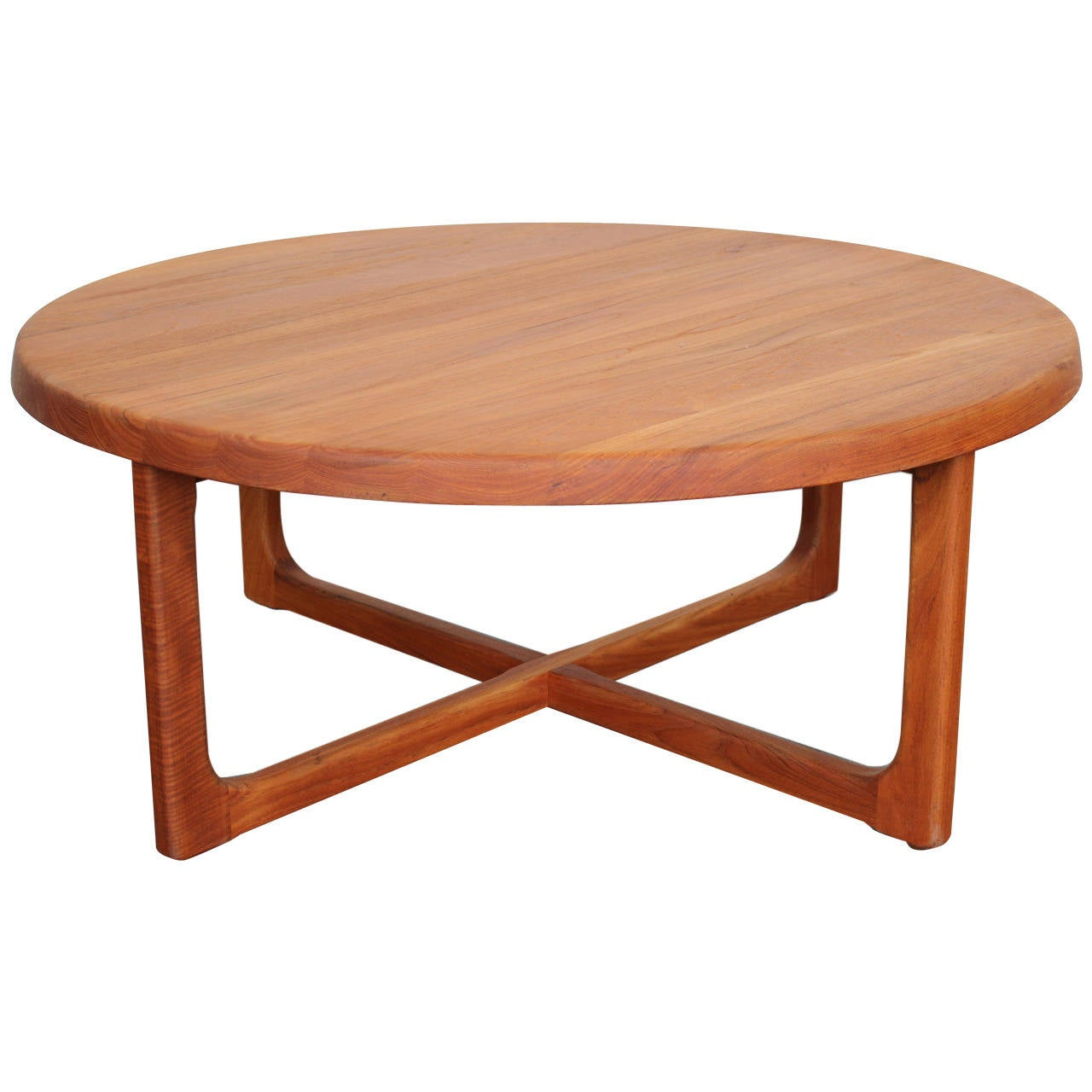 MidCentury Large Round Solid Teak Coffee Table at 1stdibs