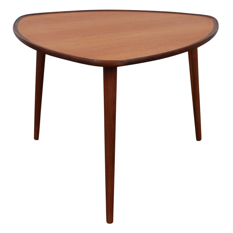 Danish Mid Century Modern Triangular Teak Coffee Table. At
