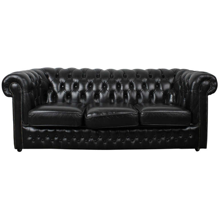 Vintage Black Leather Chesterfield Sofa: English Vintage Black Leather Chesterfield Sofa At 1stdibs