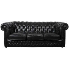 English Vintage Black Leather Chesterfield Sofa