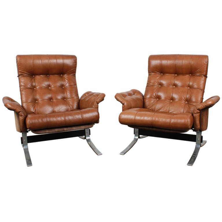 Pair of Tufted Leather Danish Mid Century Modern Flat Bar Metal Lounge Chairs