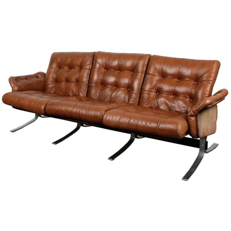 Danish Modern Tufted Leather and Metal Frame Sofa by Ebbe Gehl. at ...