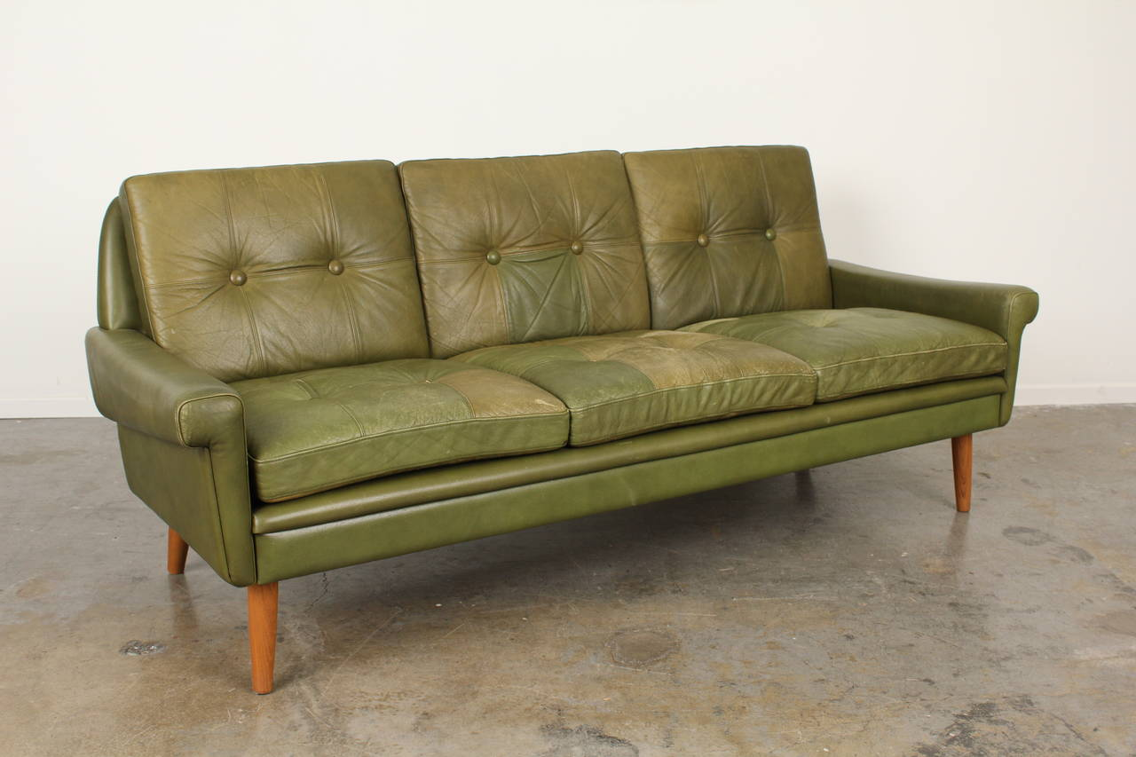 Leather sofa by Skipper Mobler. Great patina on the original vintage ...